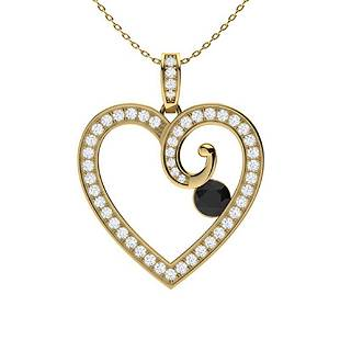 0.71 ctw White & Black Diamond Necklace 14K Yellow Gold