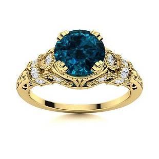 Natural 1.76 CTW Topaz & Diamond Engagement Ring 18K