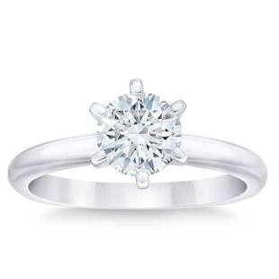 Natural 1 CT Diamond Solitaire Ring 18K White Gold