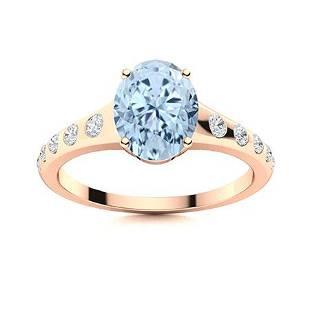 Natural 0.96 CTW Aquamarine & Diamond Engagement Ring