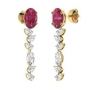 2.76 CTW Pink Tourmaline Drops Earrings 18K Yellow Gold