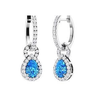 2.68 CTW Blue Topaz & Diamond Drops Earrings 18K White