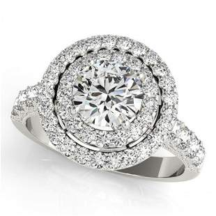 Natural 3 ctw Diamond Solitaire Halo Ring 14k White