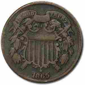 1865 Two Cent Piece Fine