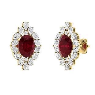 7.68 CTW Ruby Halo Earrings 18K Yellow Gold