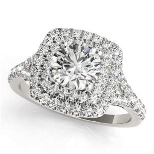 Natural 1.6 ctw Diamond Solitaire Halo Ring 14k White