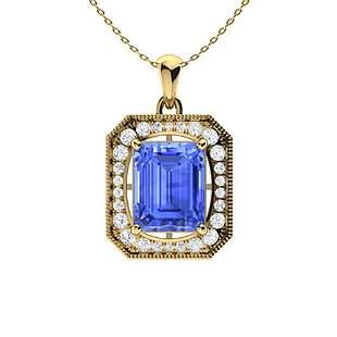 4.36 ctw Ceylon Sapphire & Diamond Necklace 14K Yellow