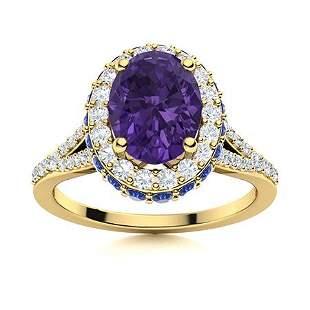 Natural 1.82 CTW Amethyst, Sapphire & Diamond