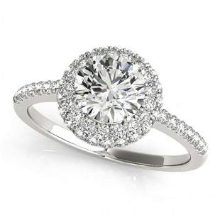 Natural 1.1 ctw Diamond Solitaire Halo Ring 14k White