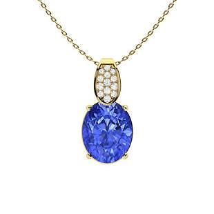 2.88 ctw Ceylon Sapphire & Diamond Necklace 18K Yellow