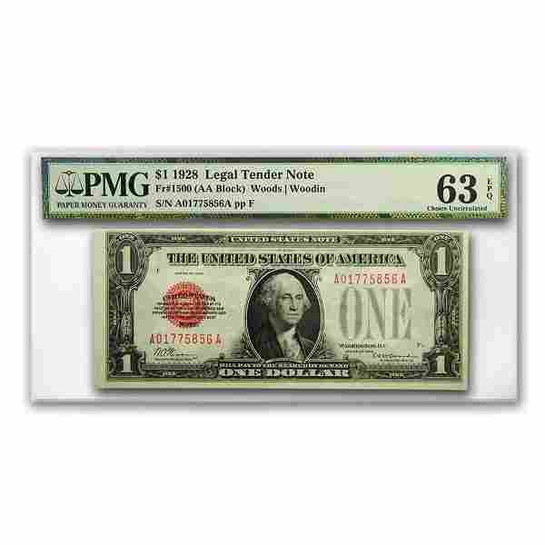 1928 $1.00 U.S. Note Legal Tender CU-63 EPQ PMG
