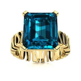 Natural 10.30 CTW Topaz Solitaire Ring 14K Yellow Gold