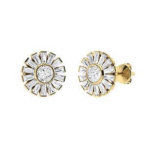 3.26 CTW Diamond & Diamond Halo Earrings 18K Yellow