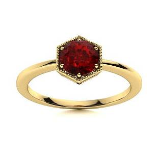 Natural 0.62 CTW Garnet Solitaire Ring 18K Yellow Gold
