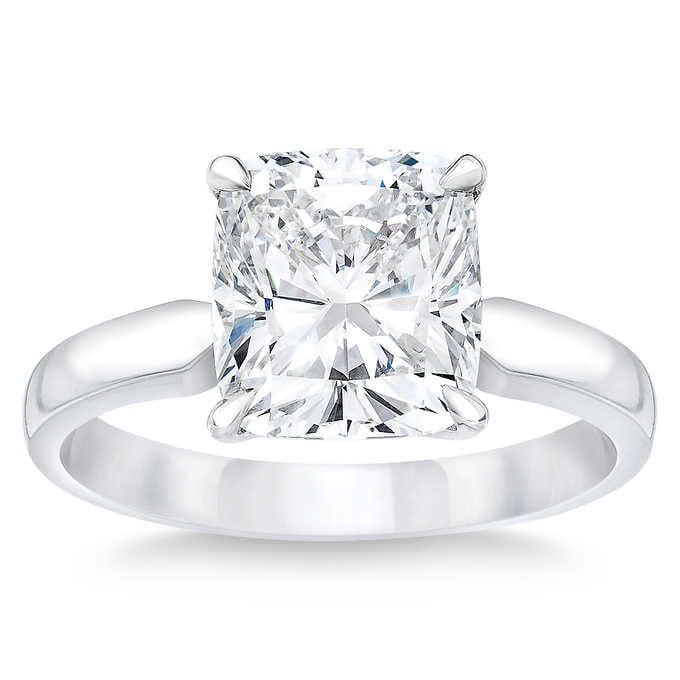 Natural 3.50 CT Diamond Solitaire Ring 18K White Gold
