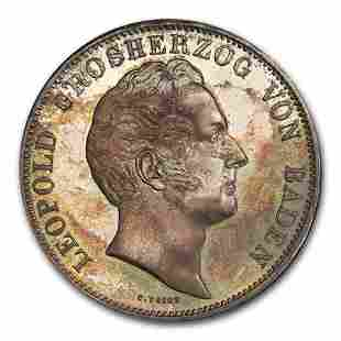 1844 German State Baden Silver 2 Thaler Leopold I