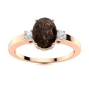 Natural 4.23 CTW Smoky Quartz & Diamond Engagement Ring