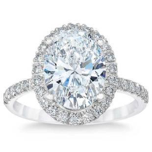 Natural 4.02 CT Diamond Bridal Ring 18K White Gold