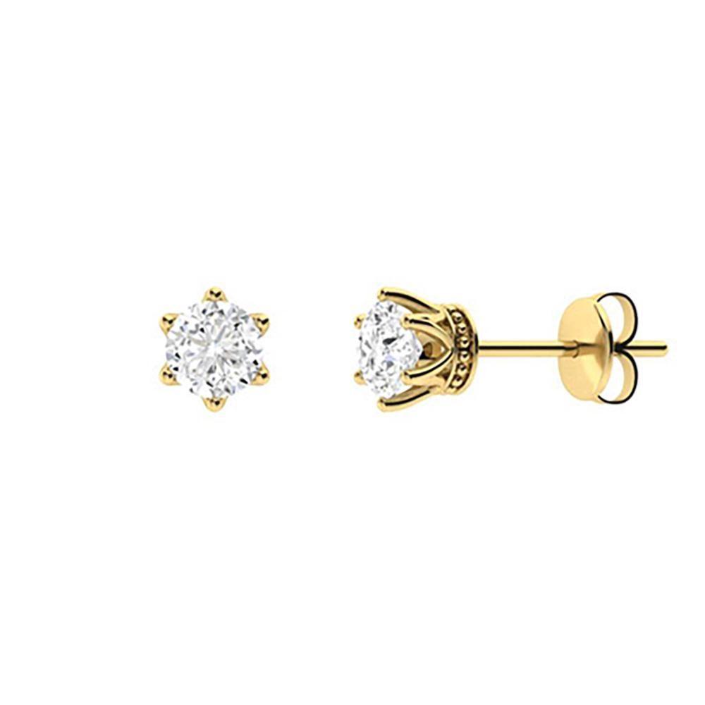 2.56 CTW Diamond Studs Earrings 14K Yellow Gold