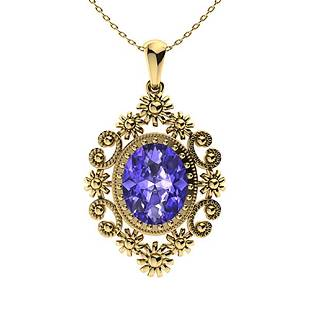 4.67 ctw Tanzanite Necklace 18K Yellow Gold
