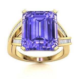 Natural 5.40 CTW Tanzanite & Diamond Engagement Ring