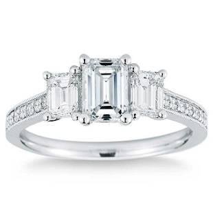 Natural 2.35 CT Diamond Bridal Ring 18K White Gold