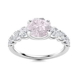 Natural 1.77 CTW Rose Quartz & Diamond Engagement Ring