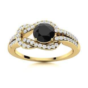Natural 0.90 CTW Black & White Diamond Engagement Ring
