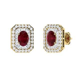 2.49 CTW Ruby Halo Earrings 18K Yellow Gold