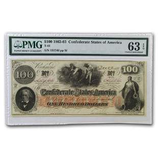 1862 $100 (T-41) Slaves Hoeing Cotton CU-63 EPQ PMG