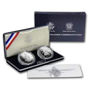 2000-P 2-Coin Leif Ericson Proof Set (w/Iceland Kronur,