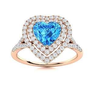 Natural 1.28 CTW Topaz & Diamond Engagement Ring 18K