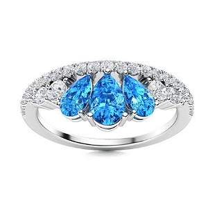 Natural 1.24 CTW Topaz & Diamond Engagement Ring 18K