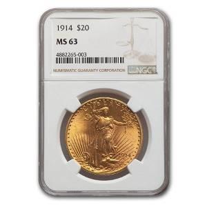1914 $20 Saint-Gaudens Gold Double Eagle MS-63 NGC