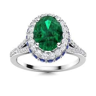 Natural 1.83 CTW Emerald, Sapphire & Diamond Engagement