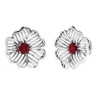 2.08 CTW Ruby Halo Earrings 18K White Gold