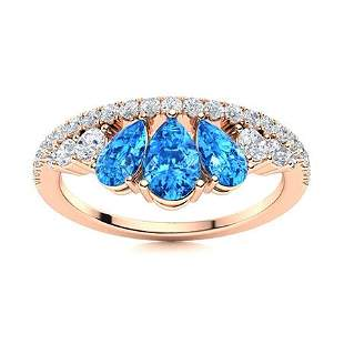 Natural 1.23 CTW Topaz & Diamond Engagement Ring 14K