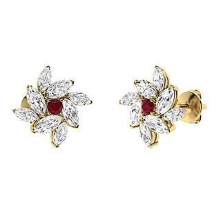 1.28 CTW Ruby Halo Earrings 18K Yellow Gold
