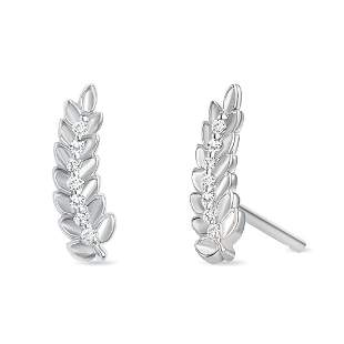 Natural 0.06 CTW Leaf Diamond Earrings 18KT White Gold