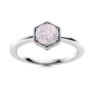 Natural 1.22 CTW Rose Quartz Solitaire Ring 18K White