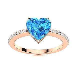 Natural 0.67 CTW Topaz & Diamond Engagement Ring 18K