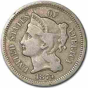 1874 3 Cent Nickel Fine