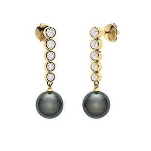 1.77 CTW Diamond & Black Pearl Drops Earrings 18K