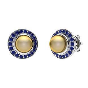1.95 CTW Sapphire & Golden Pearl Halo Earrings 18K