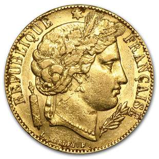 1849-1851 France Gold 20 Francs Early Head Ceres (XF)