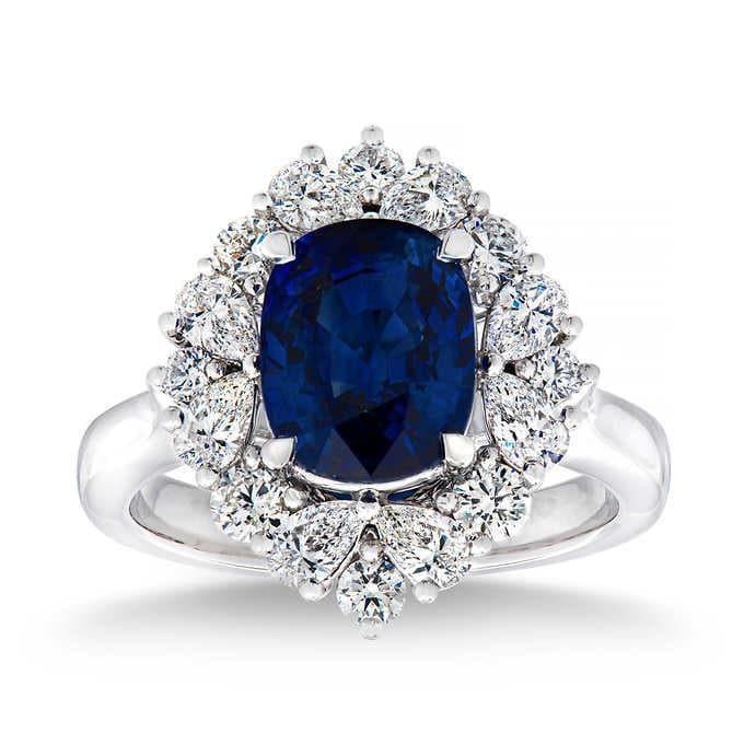 Natural 3.74 CT Blue Sapphire & Diamond Ring 14K White