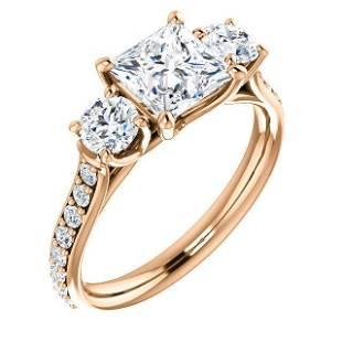 Natural 2.02 CTW 3-Stone princess Cut & Rounds Diamond