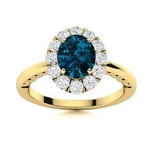 Natural 1.46 CTW Topaz & Diamond Engagement Ring 18K
