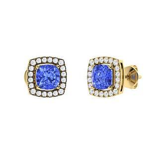 1.95 CTW Ceylon Sapphire & Diamond Halo Earrings 18K