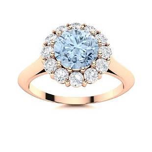 Natural 1.47 CTW Aquamarine & Diamond Engagement Ring